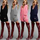 Womens Long Sleeve Knitted Sweater Mini Dresses Oversized Pullover Jumper Tops