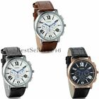 Fashion Men's Calendar Date Dial Leather Band Watches Quartz Analog Wrist Watch
