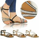 Ladies Womens Flat Strappy Peep Toe Diamante Ankle Strap Summer Sandals Size