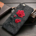 Beautiful Embroidery Rose Flower Leather Cover Case For Apple iPhone 6S 7 Plus