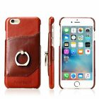 Genuine Cow Leather+Metal Ring Holder Stand Cover Case For Apple iPhone 6 7 Plus