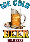 Ice Cold Beer DECAL (CHOOSE YOUR SIZE)  Food Truck Sign Restaurant Concession