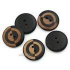 12 PCS Black Round Wood Sewing Buttons Double Hole For Shirt 23mm
