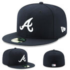 New Era Atlanta Braves 5950 Fitted Hat MLB Official Game Basic Royal Blue Cap