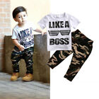 Casual Toddler Baby Kids Boys Clothes Set T-shirt Tops+Long Pants 2PCS Outfits