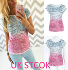 Fashion Womens Summer Gradient Tops T Shirt Ladies Casual Blouse Shirt Size 6-16