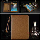 Ultra-thin PU Leather Flip Smart ID CARD Stand Case Cove For Apple iPad+Strap