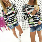 Stylish Womens Shirts Loose Long Sleeve Casual T-Shirt Tops Blouse Stripe