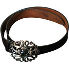 Black Leather Renaissance Medieval Belt and Buckle