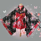 Red Kimono Lolita Maid Uniform Outfit Cosplay Uniform Costume Dress Bow Belt New