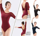 Brand New Womens Black Blue Lycra Elastic Mesh Elbow Sleeve Ballet Dance Leotard