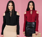 LEVORA BLACK & BURGUNDY COLD SHOULDER TOP WITH TIE FEATURE.