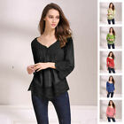 Ladies Casual Long Sleeve Lace Shirts Loose Blouses T Shirt Tops Plus Size Tunic