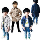 1 Boys kids Fashion Double Breasted Belted  Long Trench Coat  Jacket Parka 1-8Y