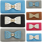 Ladies Bow Design Bifold Long Coin Purse Womens Wallet Card Holder New UK