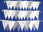 DOUBLE SIDED WEDDING BUNTING grey white fabric lace FLORAL SHABBY VINTAGE CHIC