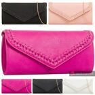 LADIES WOMENS NEW FAUX LEATHER BRAIDED TRIM ON FLAP PARTY CLUTCH SHOULDER BAG