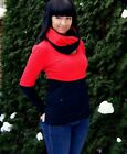 2 PIECES SET JERSEY LONG SLEEVE AND BREASTFEEDING TUBE SCARF COVER BLACK RED