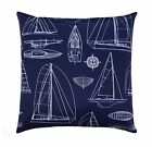Nautical Outdoor Accent Pillow, Navy & White Sailing Boat Outdoor Throw Pillow