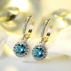 Small Hoop Earring Dangle Shiny CZ Crystal Fashion Mom's Earings Jewelry Gift