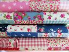 SALE Floral polka dot patchwork fabric pink red blue 100% cotton free postage