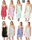 Womens Ladies Satin Silk-Feel BHS Chemise Nightie 2Pack 100% Satin Fabric UK8-22