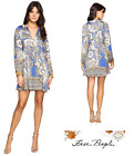 FREE PEOPLE Sz LARGE Say You Love Me Long Sleeves Blue C New Tags bw