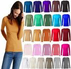 NEW WOMENS CREW NECK PLAIN LONG SLEEVE T-SHIRT TOP 15 COLOURS UK 8-24