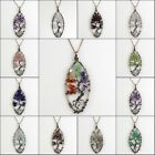 Natural Amethyst Labradorite Chip Beads Tree Of Life Olivary Pendant Necklace