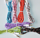 100 LOT 6FT AUX BRAIDED CABLES FOR iphone 6 4s 5s ipod mp3 amp car pc stereo