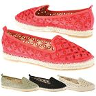 Rhia Womens Flats Low Heels Slip On Espadrilles Ladies Summer Cut Out Shoes Size