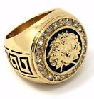 Mens 14K Gold Plated Hip Hop Iced Medusa Face Ring Sizes 7 8 9 10 11 12 MR12