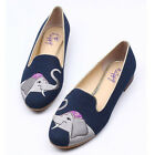 Embroidery Elephant Shoe Cotton Fabric Casual Shoes Round Toe Students Flat Shoe