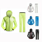 M-3XL Cycling Light Breathable Rain Jacket Running Hiking Waterproof Coat+Pant