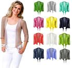 Ladies One Size Cropped Bolero Stretchy Tie Up 3/4 Sleeve Front Fine Knit Shrug