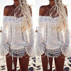 Women Off Shoulder Lace Hollow Shirts Top Ladies Summer Casual Beach Tee Blouse