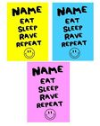 Personalised Eat Sleep Rave Repeat Birthday Card