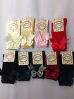 GIRLS KIDS SOCKS SPANISH SATIN DOUBLE BOW 3/4 HIGH UK SIZES 00-6 Good QUALITY