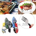 New 3 in1 Portable Compact Folding Travel Camping Kit Spoon Fork Utensils Set