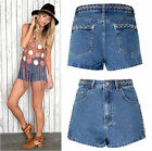 Womens Mid Blue Plaited Denim Shorts Stone Wash Hot Pants Summer Festival 70's