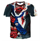 New Summer Men 3D Bloodiness Print Funny T-Shirt Casual Round Collar Graphic Tee