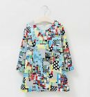 Girls Dress Summer Spring Cotton Knee-Length Geometric Long Sleeve Size 1-12