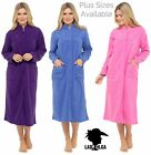 New Lady Olga fleece button dressing gown robe satin piping Embroidered Yoke