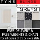 """REPLACEMENT SLATS for VERTICAL BLINDS - BARGAIN  From Only 99p 3.5"""" (89mm) Grey"""