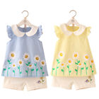 Girls Summer Set Shirt Shorts Cotton Blend Flowers Yellow Blue Sleeveless 2T-9T