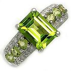 Cocktail Peridot 18K Gold Filled Rings Women Halo Size 7-11 Engagement Jewelry