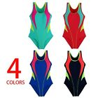 Summer 2017 Girls Swimwear One Piece Solid Patchwork 4 Colors Polyester SZ 34-42