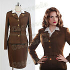 """Captain America Cosplay Costume Outfit Agent Margaret""""Peggy""""Carter Uniform Dress"""