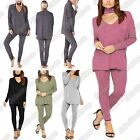 New Ladies Plain Choker Neck Top Leggings 2 Piece Set Easy Lounge Wear Tracksuit