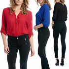Women's V-Neck Zip Up Bodysuit Long Sleeve Dressy Sheer Romper Leotard Blouse